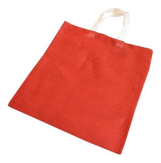 Bolsas Yute Con Asa Color Rojo Ecológica 10 Pzs 35cmx 40cm