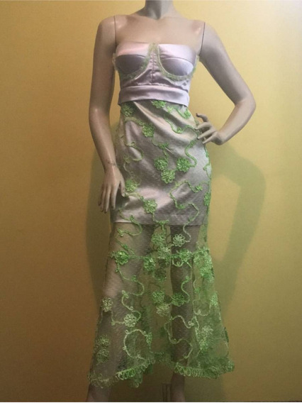 Vestido Festa Com Renda Verde