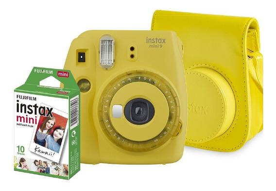 Kit Câmera Fujifilm Mini 9 Amarela Bolsa + Filme De 10 Poses