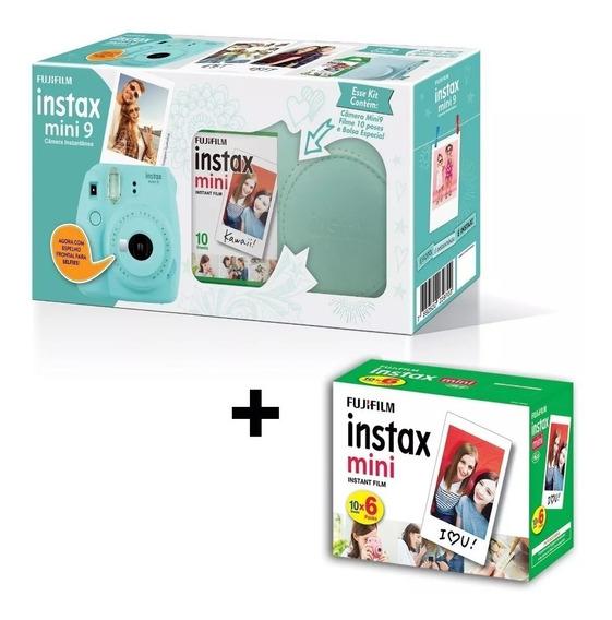 Kit Câmera Instax Mini 9, Câmera, Bolsa+ 70 Filmes