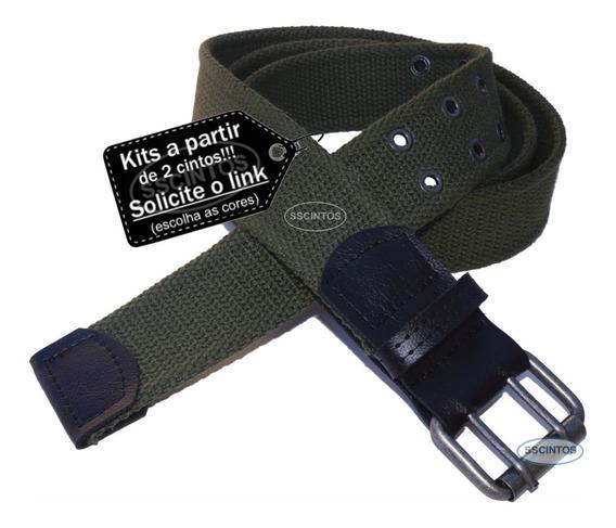 Cinto Masculino Lona Premium 2 Bordas Larg. 4cm + Chaveiro