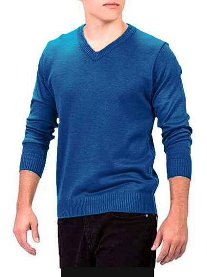 Sueter Masculino Azul Gola V Malha Blusa Estilo Slim Fit Fg
