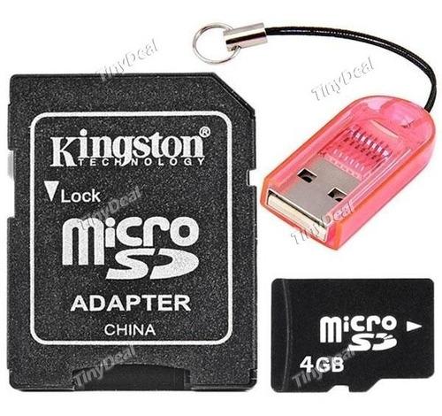 Cartao Micro Sd 4gb + Leitor Cartão + Adaptador Kingston