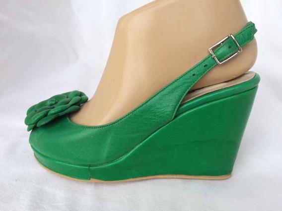 Sandalia Cuero Verde 36 Adesso Liquido