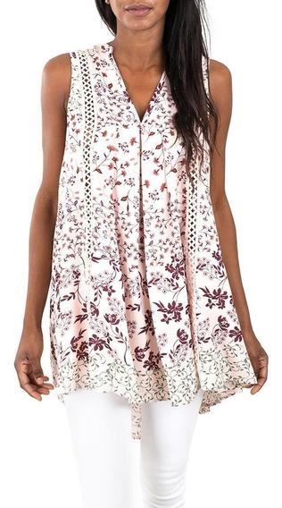 Blusa Rosa Estampado Floral - En Creme