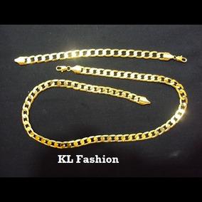 Conjunto De Corrente E Pulseira Foleada A Ouro 24k 60cm