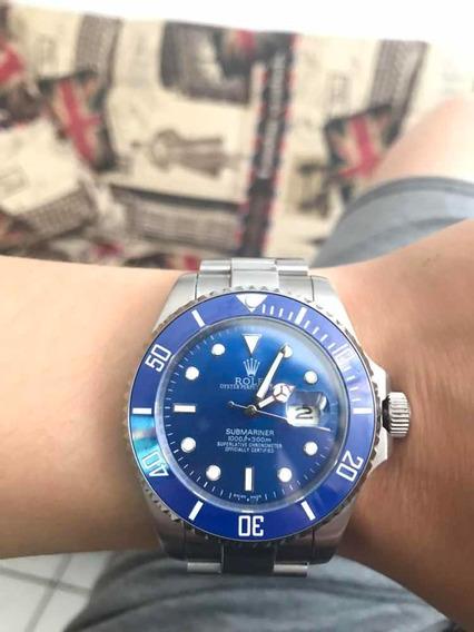 Relógio Rolex Azul E Prata