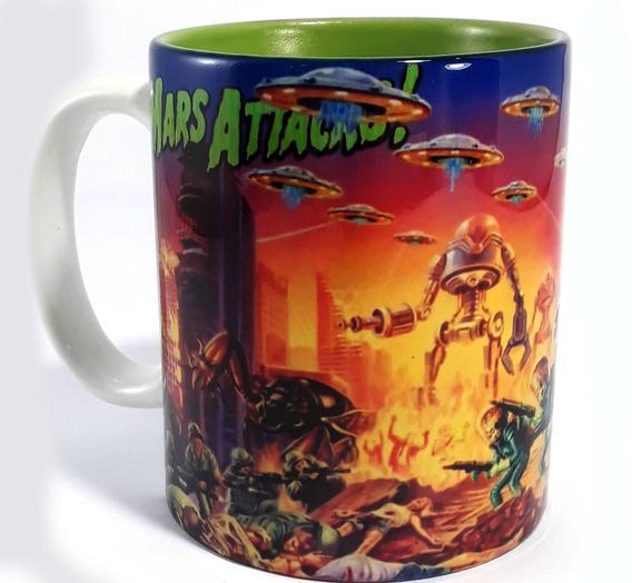 Caneca Marte Ataca - Porcelana Interior Colorido