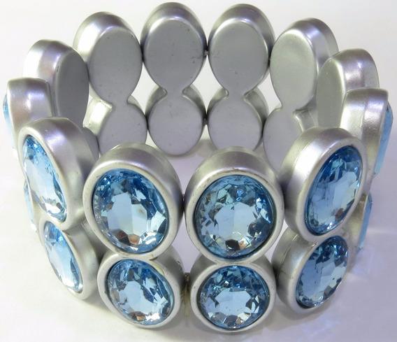 Pulseira Com Elástico Cinza / Strass Azul Claro