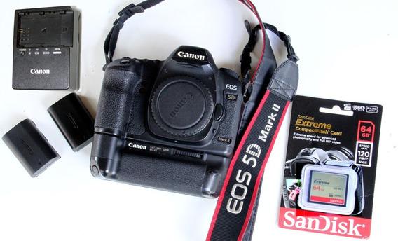 Canon 5dmarkii+grip +2baterias+carreg+cartão Memoria 64gb