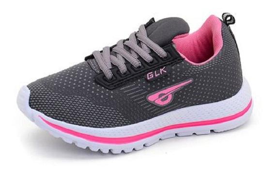 Tênis Esportivo Glk Feminino Original Caminhada Pink Corrida