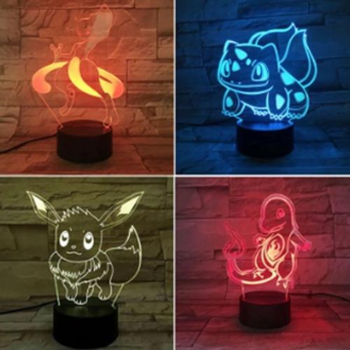 Imagem 1 de 10 de Luminária 3d Pokemon