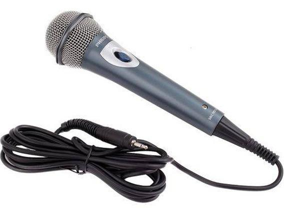 Microfone Dinâmico Philips Unidirecional Cabo 3 M Sbcmd150
