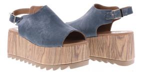 Sandalias Casuales Para Dama Erez Azul Y Negro