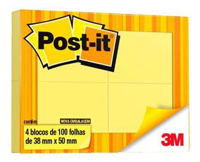 Blocos Adesivos Post-it® Amarelo 4 Blocos De 38 Mm X 50 Mm