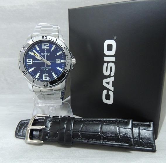 Relógio Masculino Casio Mtp-vd01d-2bvudf + Pulseira Extra Nf