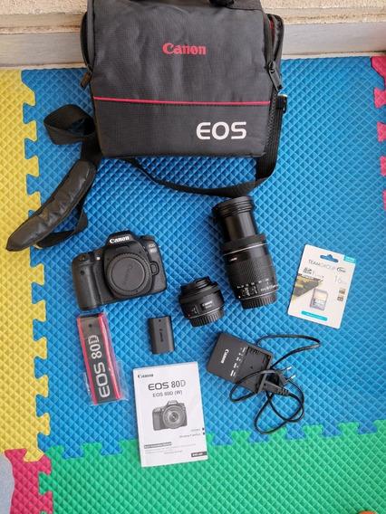 Canon Eos 80d (323cliques)+ 2lente L/18-155+l/50m Novissimo