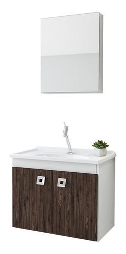 Imagem 1 de 7 de Conjunto Para Banheiro Armário Com Pia Espelheira 2 Portas