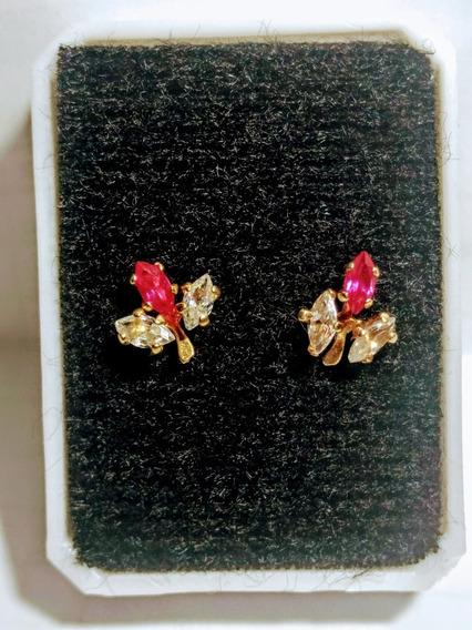 Broqueles De Oro De 10k Rubies Y Circonias Modernos