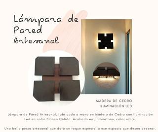 Lámpara Artesanal De Pared. Madera De Cedro, Iluminación Led