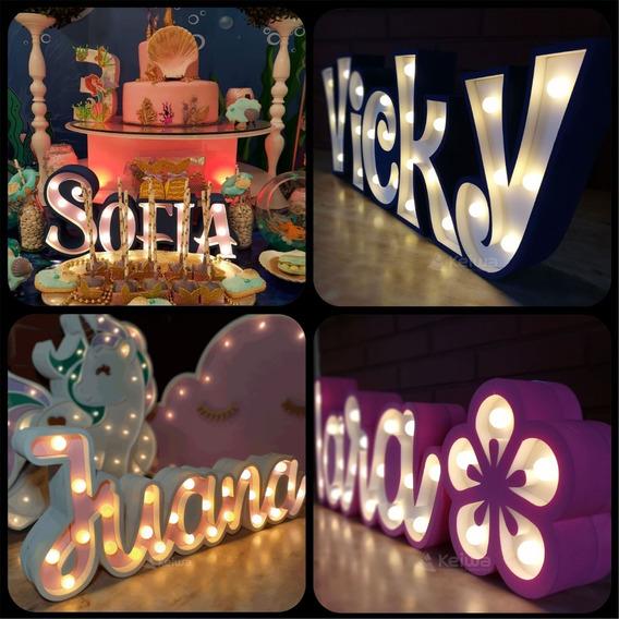 Nombre Cartel Luminoso 5 Letras Led Polifan Eventos Candybar