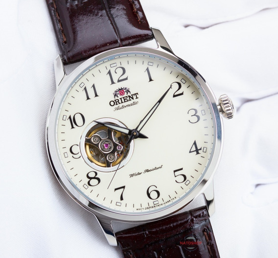 Relógio Orient Automático Open Heart Creme