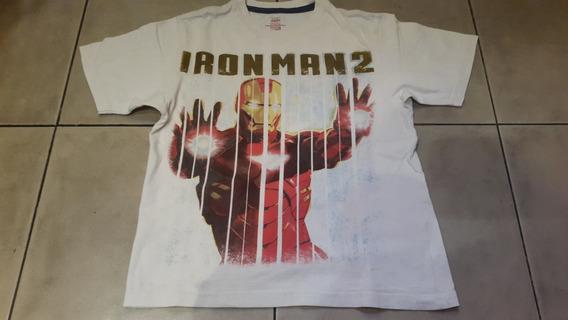 Remera Niño Blanca Manga Corta De Iron Man 2 Talle 6/7