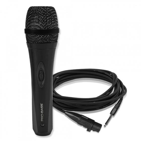 Microfone Dinâmico Com Fio P/ Karaoke Com Cabo Linha Prof Nf