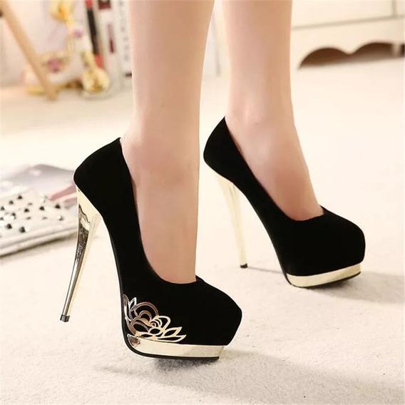 Sapato Feminino Fechado Boneca Salto 14 Cm