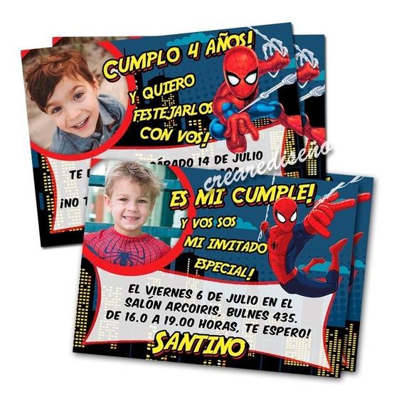 Tarjeta Invitacion Spiderman Hombre Arana Souvenirs