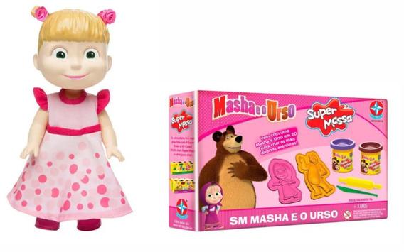 Masha E O Urso Massinha De Modelar + Boneca Masha Estrela