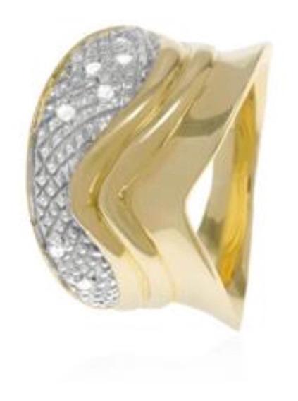 Anel De Ouro 18k Sete Diamantes 7,4 Gramas