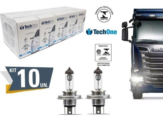 Kit 10 Lampada Halogena H4 3000k 24v Caminhao 70/75w Techone