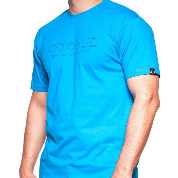 Camiseta De Algodão Bike Evolution Azul
