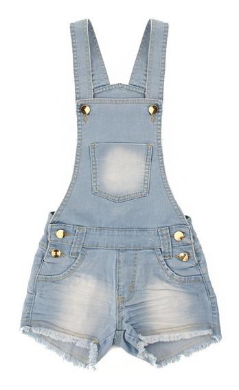 Jardineira Macacao Jeans Feminina Juvenil Adulto De 10 Ao 44