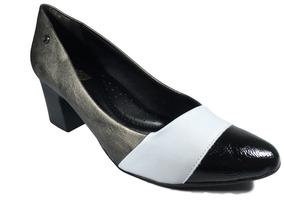 Sapato Scarpin Comfortflex Cinza Preto Salto 5cm Ref 1954304