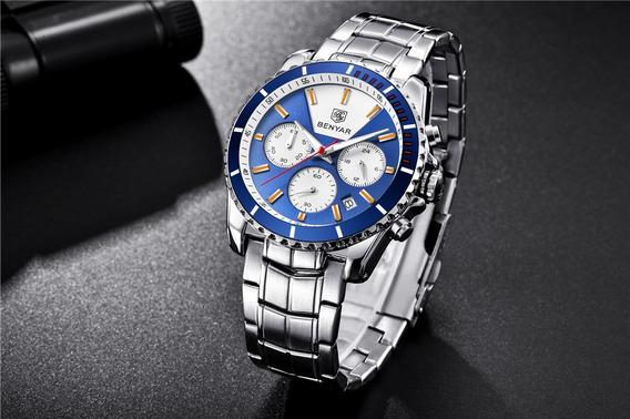 Relógio Masculino Marca De Luxo Benyar Original Executive