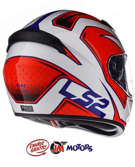Jm Casco Integral Ls2 Ff 352 Rookie Fire Rojo Blanco Azul