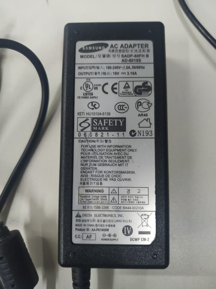Fonte Carregador Original Notebook Samsung 19v 3.16a 60w