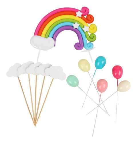 Imagen 1 de 12 de 12 Unids/pack Iris Nube Pastel Toppers Fiesta De Cumpleaños