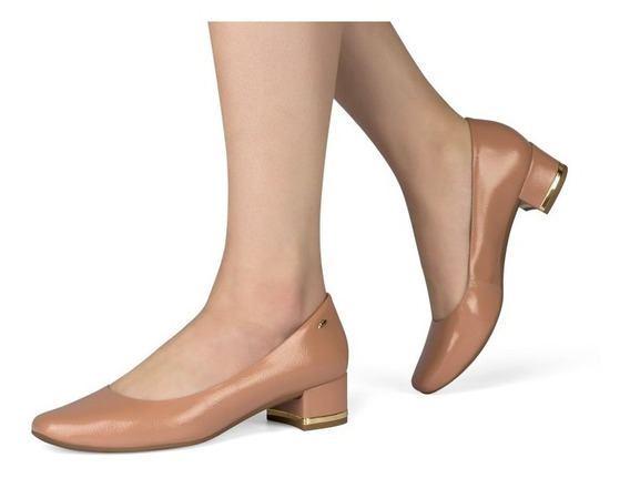 Sapato Feminino Dakota Salto Grosso Preto & Rose G1081