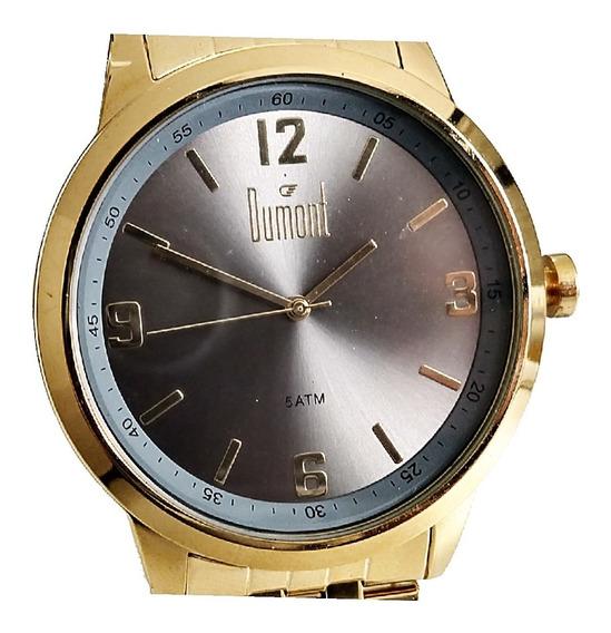 Relógio Masculino Dourado Dumont Fundo Cinza Du2035ltg