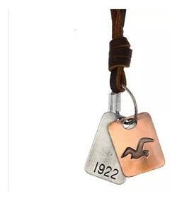 Colar Cordão Masculino Hollister Couro 1922 Aguia Placa