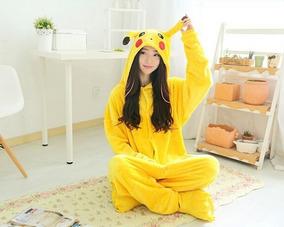 Pijama Pikachu Picachu Pokemon Unissex Capuz Macacão Cosplay