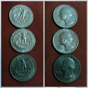 Moeda Americana - Quarter Dollar - Três Moedas