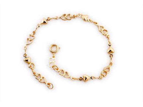 Pulseira Corações Liso Vazado Folheado Ouro Rommanel 550573