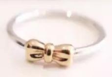 Aro 17 Pandora Prata E Ouro 14k Maciço Noivado Aliança