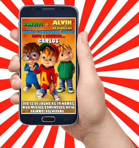 Imagem 1 de 2 de Convite Virtual Para Aniversário Alvin E Os Esquilos Desenho