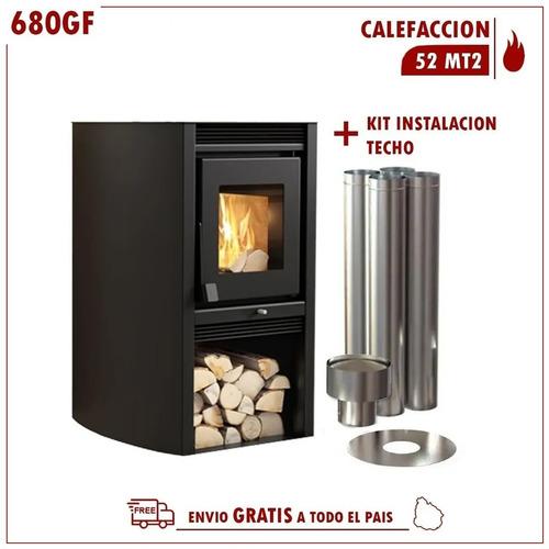 Calefactor Leña Doble Combustion Metavila 52mt2 C/kit Techo