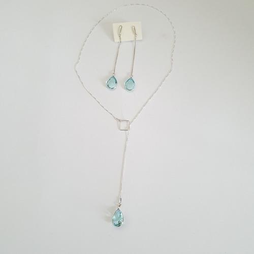 Imagem 1 de 1 de Conjunto De Prata 925, Com Pedras Na Cor Topázio Azul.